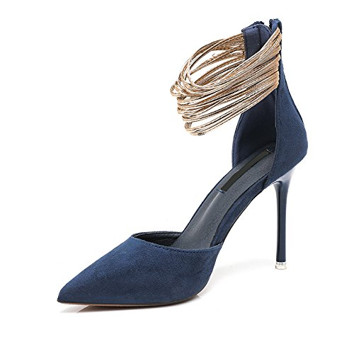 Shoe Heel AGECC Single Professional Summer Woman Heels blue Thin Shallowly Shallowly High qgaR1