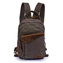 Men's Women's Leisure Canvas Small Sling Backpack Handbag Shoulder Bag Chest Pack (Army Green)