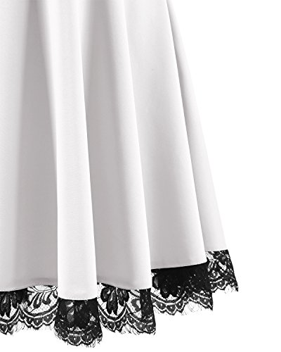 Madrina Vintage Homrain Vestido Encaje Fiesta Cóctel Blanco Corto Mujer Retro ZX8HwnXq