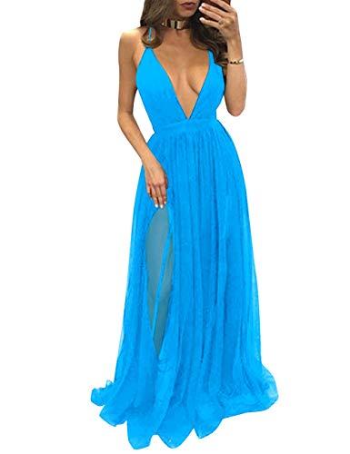 Bess collo Oceano Delle Lungo Partito Vestito V Backless Donne Tulle Sexy Promenade Blu Profondo Del Sposa fxw0qvgOx
