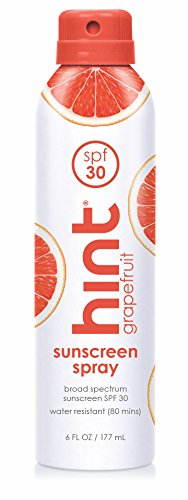Hint Sunscreen, SPF 30, 6 Fl Oz, Oxybenzone Free, Paraben Free (Grapefruit) Broad Spectrum SPF 30 Compressed Air Spray-On Sunscreen, Water Resistant, Grapefruit Scented