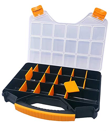 Massca Hardware Box Storage. Hinged Box Made of Durable Plastic in a Slim Design with 18 compartments. Excellent for Screws Nuts and Bolts. (Organizer Screws)