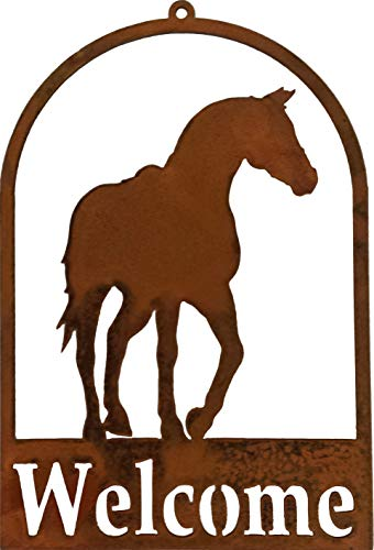 California Home and Garden CH602 Hanging Metal Horse Silhouette Welcome Sign, Rustic Look Artwork, 11 Inch Tall, Brownish Red Art Silhouette Welcome Sign