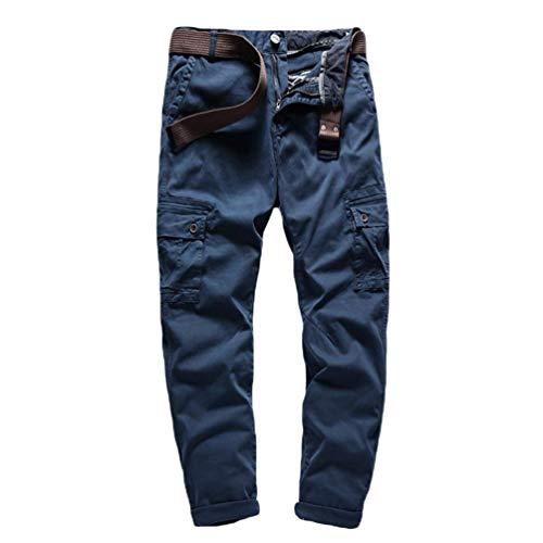 Autunno Cargo Stile Primavera Casual Multi Completo Da tasca Solido Colore Uomo Di Pantaloni Blau Esercito Allentati qTwSaA
