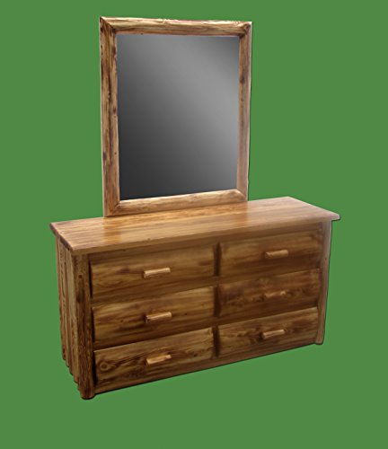 Midwest Log Furniture - Torched Cedar Dresser with Mirror - 6 Drawer - Log Vanity