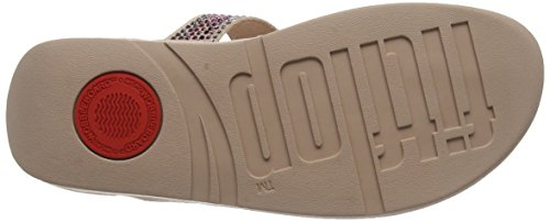Fitflop Strobe Luxe Toe-Thong Sandals, Sandalias con Punta Abierta Para Mujer Pink (Dusky Pink)