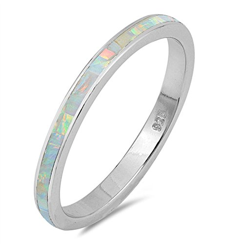 White Simulated Opal Eternity Stackable Ring New .925 Sterling Silver Band Size 9