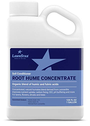 Humic Acid Organic Fertilizer - LawnStar Premium Root Hume Booster (1 GAL) - Most Concentrated Humic & Fulvic Acid Blend - Organic Carbon Nutrient Blend Conditions Soil + Boosts Nutrient Uptake - for Lawn & Garden - American Made