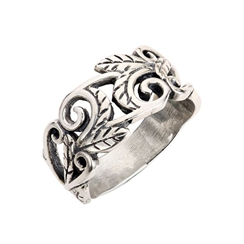 Sterling Silver Acacia Leaves Filigree Ring Size 8 (Leaf Ring compare prices)