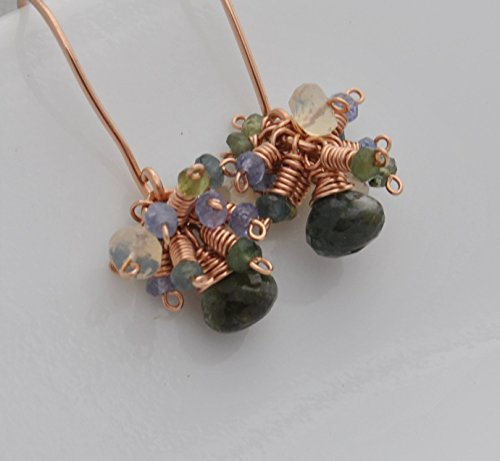 Tourmaline Cluster Gold Drop 14kt - 14kt Gold Fill Green Tourmaline Cluster Earrings