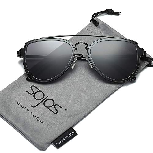 SojoS Classic Aviator Sunglasses for Men and Women Mirror Lens Double Bar SJ1051 Matt Black Frame/Grey Lens