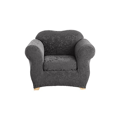 Arm Chair Custom Chairs (Sure Fit Stretch  Jacquard Damask 2-Piece - Chair Slipcover  - Gray (SF41464))