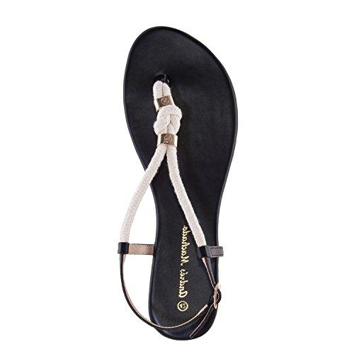 Andres Machado AM5278.Sandalias Cuerda Soft.Mujer.Tallas Grandes. 42/45. Negro
