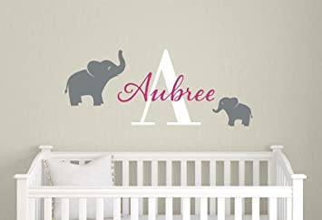 Baby Boy Name Vinyl Wall Decal - Boys Elephant Initial Decals -  Personalized Kids Decal -
