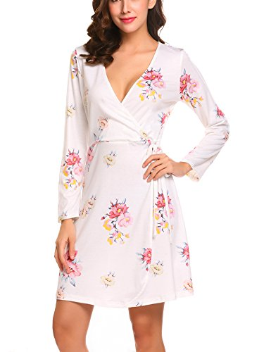 Mini Print Wrap (ELESOL Women's Long Sleeve Floral Print Faux Wrap Short Mini Dress with Belt,PAT3,L)