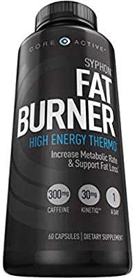 Core Active Thermogenic Supplement Fat Burner with Teacrine for Weight Loss, Energy, Focus, Appetite Control - Increase Metabolism, Muscle Toning & Maintenance - 60 Day Supply - 60 Capsules