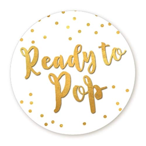 Ready to Pop Stickers | Faux Metallic Gold | Many Sizes & Colors to Choose from | Ready To Pop Baby Shower Stickers for Popcorn | Ready to Pop Stickers for a Boy or Girl (White, 1.67