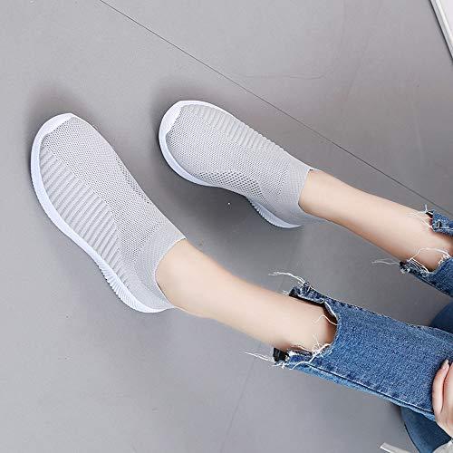 Neeky Mode Des Course Maille Femmes Semelles Respirant Chaussures Casual Sport De Chaussure D'extérieur Sur Slip Grise En Confortables UqxgBUwrp