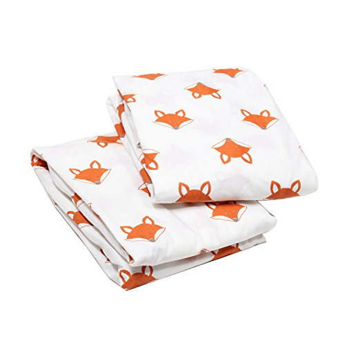 (Bacati Playful Fox 2 Piece Crib Fitted Sheet, Orange/Grey)