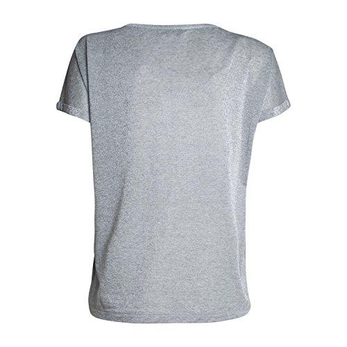 Mos Mosh Damen T-Shirt Kay von Farbe Silber Rundhalsausschnitt Glänzender Optik
