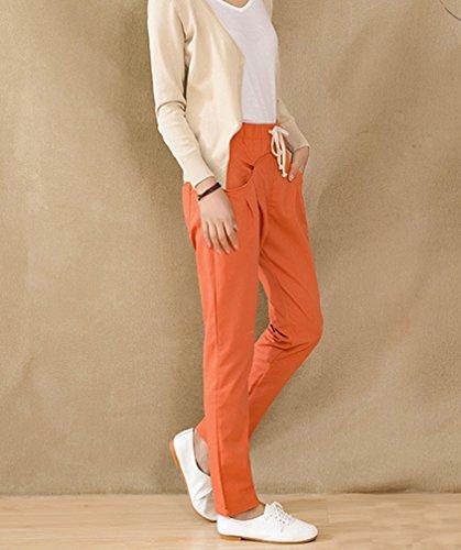 Pantaloni Pants Size Estivi Palazzo a Lino Orange in Plus Slim Fit Donna Harem BRC6qwaq