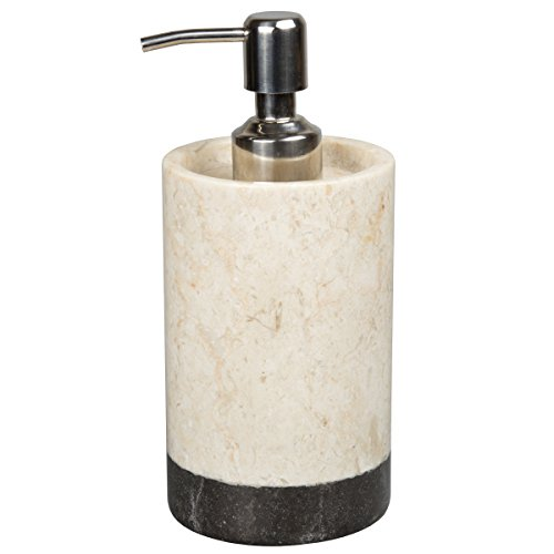 Creative Home Natural Champagne Marble 2-Tone Banded Liquid Soap, Lotion Dispenser (Natural Marble Soap)