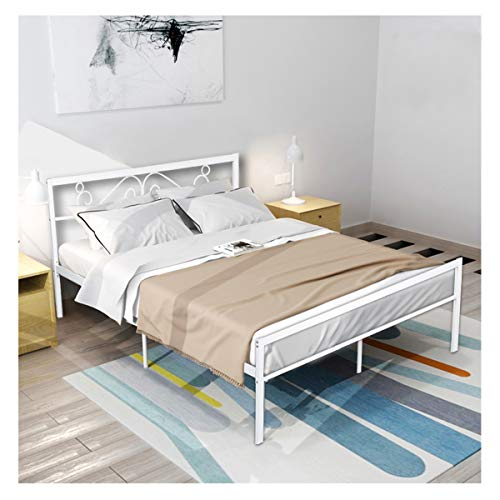 GreenForest Queen Bed Frame with Wooden Slats Support Metal Platform with Headboard No Box Spring Needed, White (82.87'' x 62.99'' x 35.63'' (LxWxH)