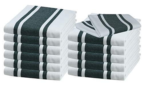 (Kitchen Towels & Dishcloth Sets (12 Pack, 18x28) Cotton Kitchen Dishcloths, Dish Towel & Tea Towels, Superior Professional Grade, Multi Purpose, French Classic Stripe Hunter Green)