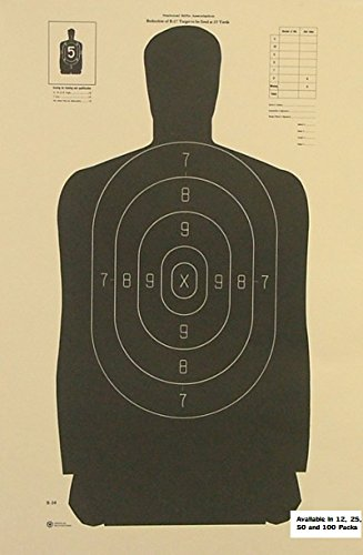 25 Yard Reduction of the Police Standard Silhouette Target - Black Rendition - Official NRA Target B34 - 16'' x 24''- 100 Pack