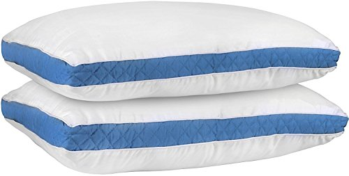 Gusseted Quilted Pillow (King, Blue) Set of 2 - Hypo Allergenic and...