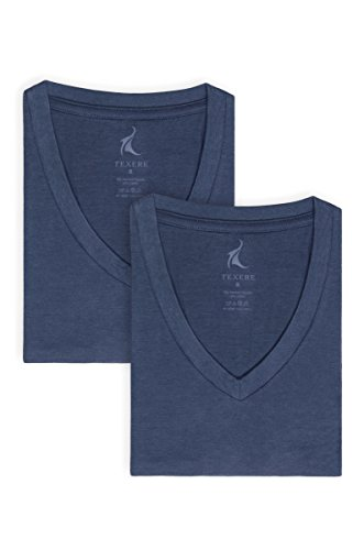 Men's V-Neck Undershirts in Bamboo Viscose (2-Pack, Air Force Blue, Medium) Soft Comfortable Under Shirt Tees for Guys MB6302-AFB-M Bamboo V-neck Tee