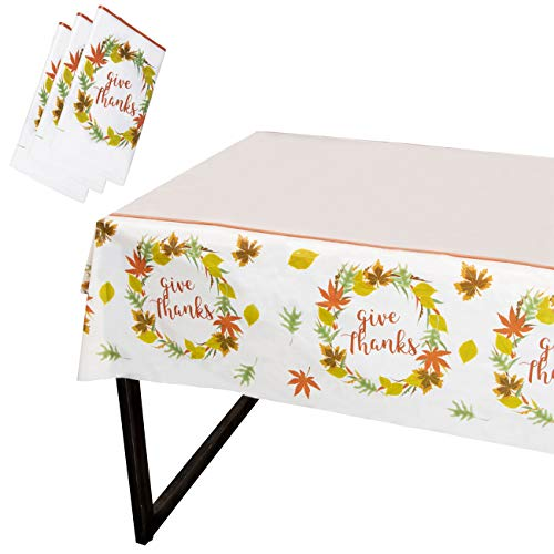 Juvale Thanksgiving Party Tablecloth - 3-Pack Disposable Plastic Rectangular Table Covers - Fall Themed Party Decoration Supplies, Give Thanks with Autumn Leaves Design, 54 x 108 Inches