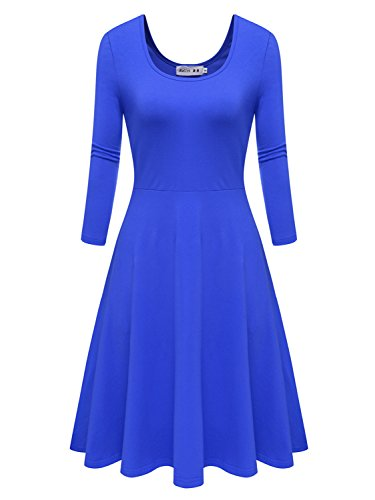 Malist Women Flared Midi Dress 3/7 Sleeves Dress Round Neck Simple Casual Skirt Navy XL