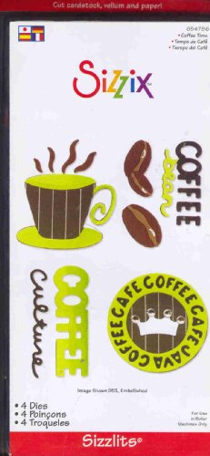 Sizzi by Sizzlits Die Set 4 Pack, Small Coffee - Sizzlits 4 Dies