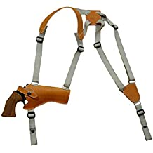 "New Barsony Horizontal Tan Leather Shoulder Holster for 4-5"" .38 .357 .41 .44 Revolvers"