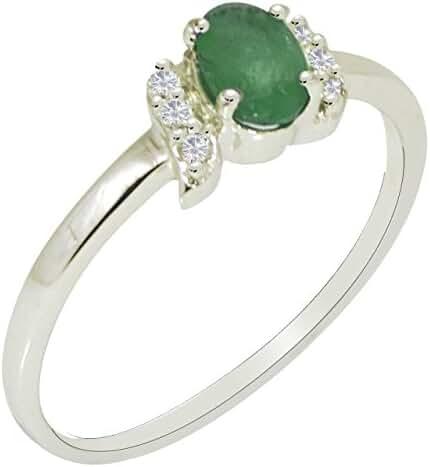 Banithani 925 Sterling Silver Designer Emerald Gemstone Finger Ring Indian Fashion Jewelry