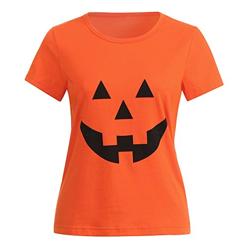 TWGONE Womens Tops Casual Short Sleeve Halloween Pumpkin Print Orange Blouse Daily T-Shirt (US-2/CN-M,Orange) for $<!--$3.90-->