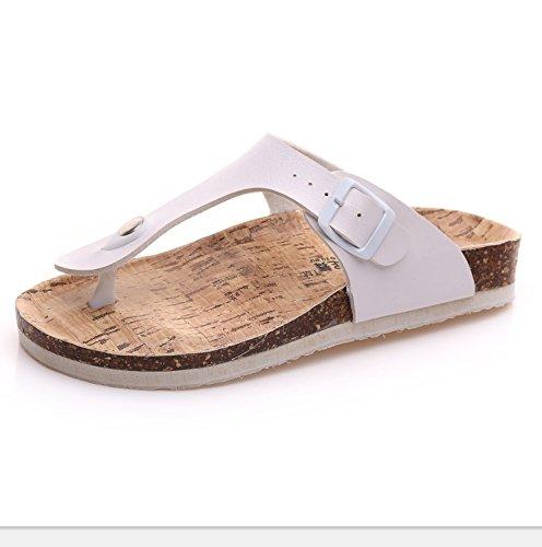 donne di dimensioni studente sandali estate flip coreana 36 Versione del resistente flop pantofole spiaggia delle piatto plus XIAMUO piedi skid Set sughero bianco qCt67a7z