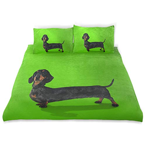 - OSBLI Bedding Duvet Cover Set 3 Pieces Funny Puppy Dog Dachshund? Bed Sheets Sets and 2 Pillowcase for Teens
