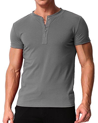 - MODCHOK Men's Short Sleeve Shirts Button Tee V Neck Slim Fit Contrast Placket Tops Dark Grey 2XL