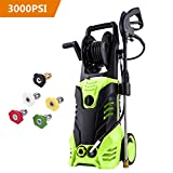 Rendio 3000 PSI Electric Pressure Washer, Pressure Washer, Professional Power Washer 5 Nozzles, 1800W Rolling Wheels, Hose Reel, 1.80 GPM
