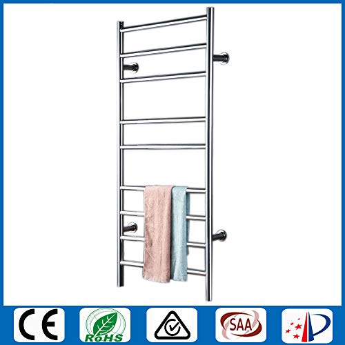 FWec Hot Towel Warmer, Electric Heated Towel Rail for Bathroom, Curved Wall Mounted Drying Rack is for Kitchen Hotel and Home - Space Saving (no (Switch and Plug))