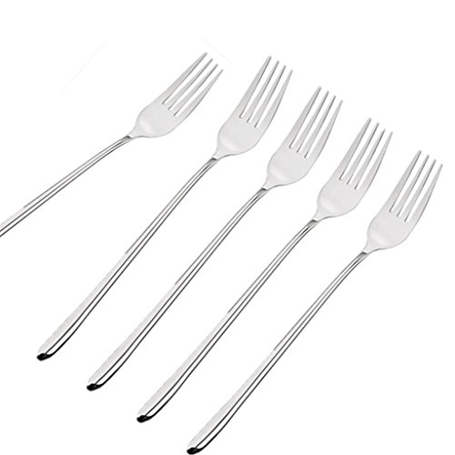 Ximkee 8 Pieces, Korean Stainless Steel Rice Spoon/Soup Spoon/Coffee Spoon - Long-handled Great Circle (Forks)