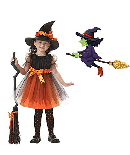 GALLDEALS Halloween Witch Costume for Girls Kids Children with Hat]()
