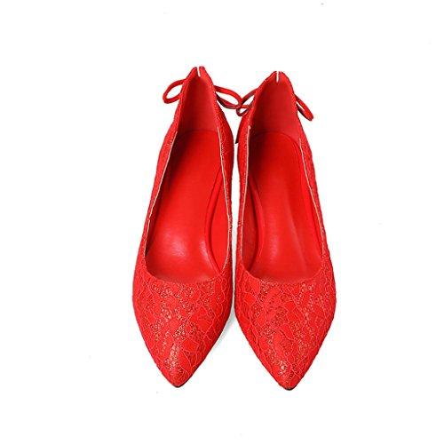 Alti Raso Bocca Tacchi In Testa Tacco Spesso Donna Appuntita Superficiale Primavera Rosso Da Medio Con Tomaia Scarpe Femminile UTq5ww