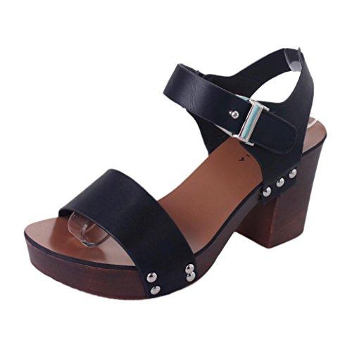 Saingace Frauen-Art- und Weisepumpen-hohe Absätze beschuht weibliche Schuhe Schwarz