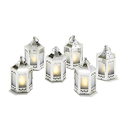 6 Silver Mini Holographic Star Lanterns, 5, Warm White LEDs, Batteries Included