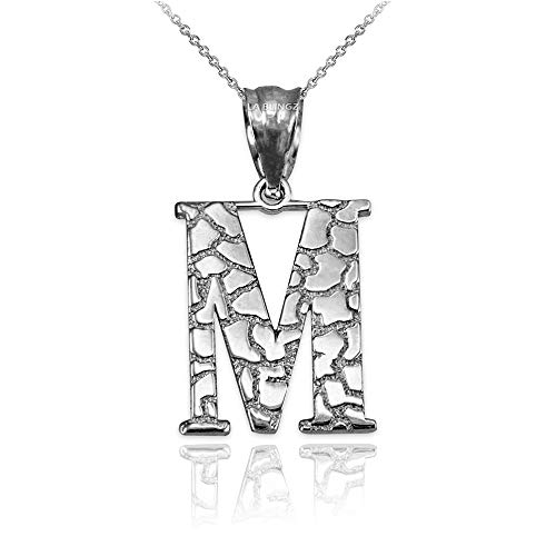 LA BLINGZ 14K White Gold Nugget Initial Letter Alphabet Pendant Necklace (18, Letter M)