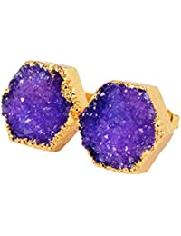 12mm Gold Plated Hexagon Agate Druzy Geode Stud Earrings #G0616