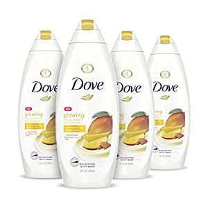 Dove Glowing Body Wash Moisturizes for Radiant Skin Mango Butter and Almond Butter Moisturizing and Sulfate-Free 22 oz, 4 Count